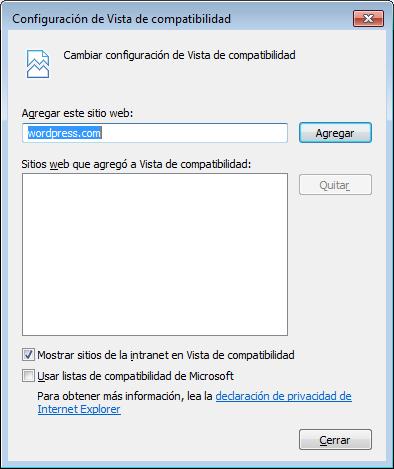 Explorer - Vista de Compatibilidad
